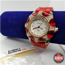 Watch - Red rubber Strap Red Stones
