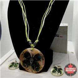 "Set -  Shell Peacock Wings/Flower Print Necklace (20"") & Earrings"