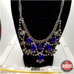 """Austrian Crystal Necklace - Purple (20"""") - Stainless"""