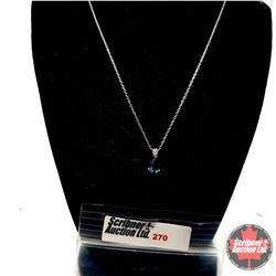 "Necklace - London Blue Pendant (18"") - Sterling Silver"