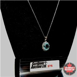 """Necklace - Simulated Blue Topaz (18"""") - Sterling Silver"""