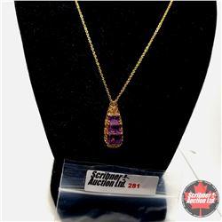 """Necklace (18"""") Rose De France Amethyst 18k Overlay - Sterling Silver"""