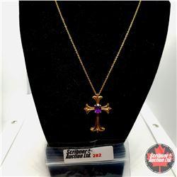 "Necklace - Purple Spiral Cross (18"") - Sterling Silver"