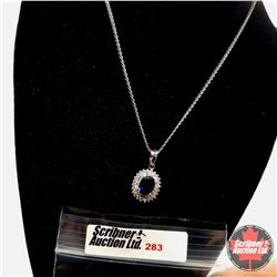 """Necklace (16"""") Simulated Blue Sapphire with Simulated Diamonds Sterling"""