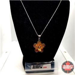 "Pendant - Flower Austrian Crystal (18"") - Stainless"
