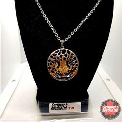 "Pendant - Wild Cat (22"") Leopard Austrian Crystal - Stainless"