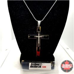 """Pendant - Simulated Diamond Cross (22"""") - Sterling Silver - Stainless"""