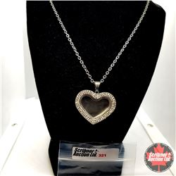 """Pendant - Magnetic Heart Locket (20"""") - Sterling Silver - Stainless"""