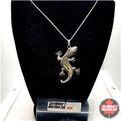 "Pendant - Abalone Lizard (20"") - Stainless"