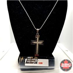 """Pendant - Cross w/Crystals (22"""") - Stainless"""