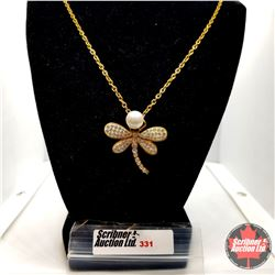 """Pendant - Dragonfly Iron Plated Yellow Gold (20"""")"""