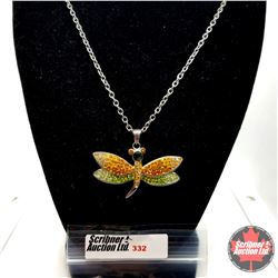 """Pendant - Crystal Dragonfly (20"""") - Stainless"""