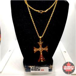 "Pendant - Cross w/Crystals (30"")  - 18k Overlay Brass"