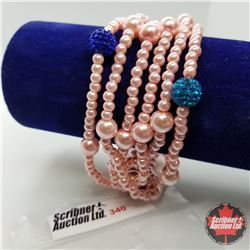 """Bracelet - Pink Glass Pearl (7"""") Stainless"""