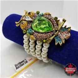 Bracelet - White Pearl & Crystal Owl Stretch