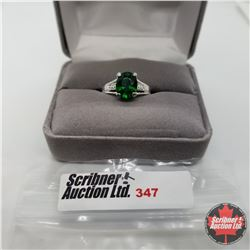 Ring - Size 7: Simulated Emerald & Diamond - Sterling Silver