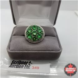 Ring - Size 7: Simulated Emerald - Sterling Silver - Stainless