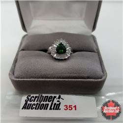 Ring - Size 7: Simulated Emerald  Platinum Bond Overlay