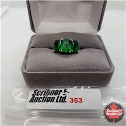 Ring - Size7: Simulated Emerald Platinum Bond Overlay