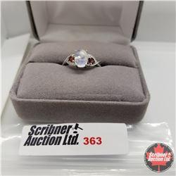 Ring - Size 7: Moonstone w/Garnet - Platinum Overlay
