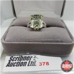 Ring - Size 7: Square Prasiolite Diamond - Sterling Silver - Platinum Bond