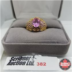 Ring - Size 7: Pink Sapphire (Lab) - Sterling Silver - 18k Overlay Brass