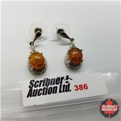Earrings - Baltic Amber Platinum Overlay - Sterling Silver
