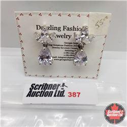 Earrings - Simulated Diamond Platinum Bond Overlay