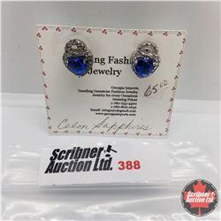 Earrings - Ceylon Sapphire - Sterling Silver