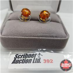 Earrings - Baltic Amber Studs Platinum Bond Overlay