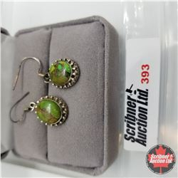 Earrings - Mojave Green Turquoise - Sterling Silver