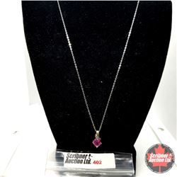 "Necklace: Pink Sapphire (Lab) - Sterling Silver (20"")"