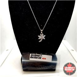 "Necklace: Simulated Diamond Dragonfly (18"") - Sterling Silver"