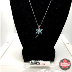 "Necklace: Simulated Blue Topaz Dragonfly (18"") - Sterling Silver"