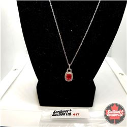 "Necklace: Ruby (Lab) (20"") - Sterling Silver"
