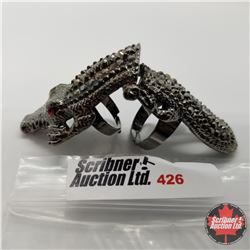 Ring - Size adjustable: Dark Crocodile (Hinged) Stainless