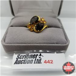 Ring - Size 10: Smokey Quartz & Citrine - Sterling Silver - 18k Overlay ION Plated Brass