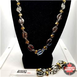 """Chain: Neck Chain &  Bracelet (24"""" & 8"""") Stainless  - 18k Overlay ION Plated Brass"""