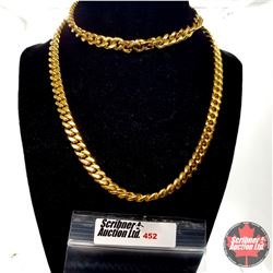 """Chain: ION Curb (30"""") Stainless  - 18k Overlay ION Plated Brass"""