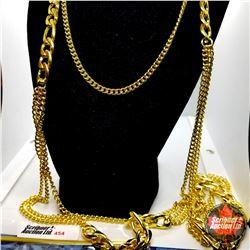 """Chain: Designer Inspired Neck Chain & Bracelet (38"""" & 8"""") Stainless  - 18k Overlay ION Plated Brass"""