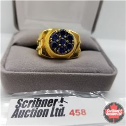 Ring - Size: 11: Mens Blue Stone - Stainless - 18k Overlay ION Plated Brass