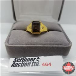 Ring - Size 11: Mens Smokey Quartz - Stainless with 14K Overlay ION Plated Brass
