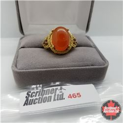 Ring - Size 9: Red Agate - Stainless with 14K Overlay ION Plated Brass