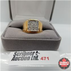 Ring - Size 11: Mens Simulated Diamond  - Stainless with 14K Overlay ION Plated Brass