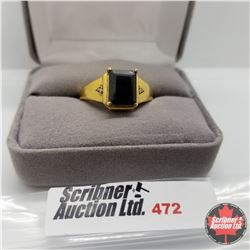 Ring - Size 10: Mens Black Spinel - Sterling Silver - Stainless with 14K Overlay ION Plated Brass