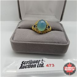 Ring - Size 9: Blue Chalcedony & Sapphire (Lab) - Sterling Silver - 14k Overlay