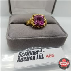 Ring - Size 10: Pink Sapphire (Lab) - Sterling Silver - Stainless with 14K Overlay ION Plated Brass