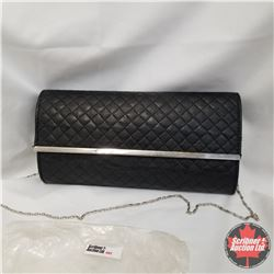 Purse - Quilted Black Clutch