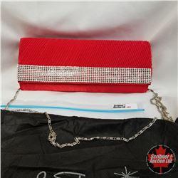 Purse - Red Clutch w/Crystals