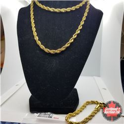 """Chain: French Rope Chain & Bracelet (30"""" & 8"""") Stainless with 14K Overlay ION Plated Brass"""